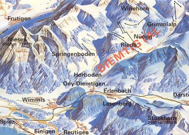 Схема трасс горнолыжного курорта Димтигтал - Спрингенбоден