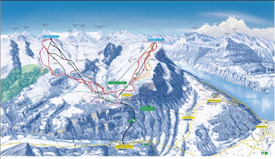 Схема трасс горнолыжного курорта Штоос