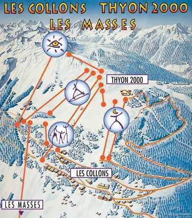 Схема трасс горнолыжного курорта Тион 2000