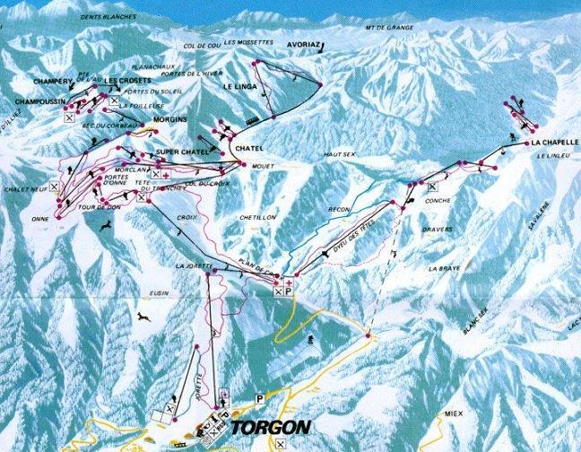 Схема трасс горнолыжного курорта Торгон