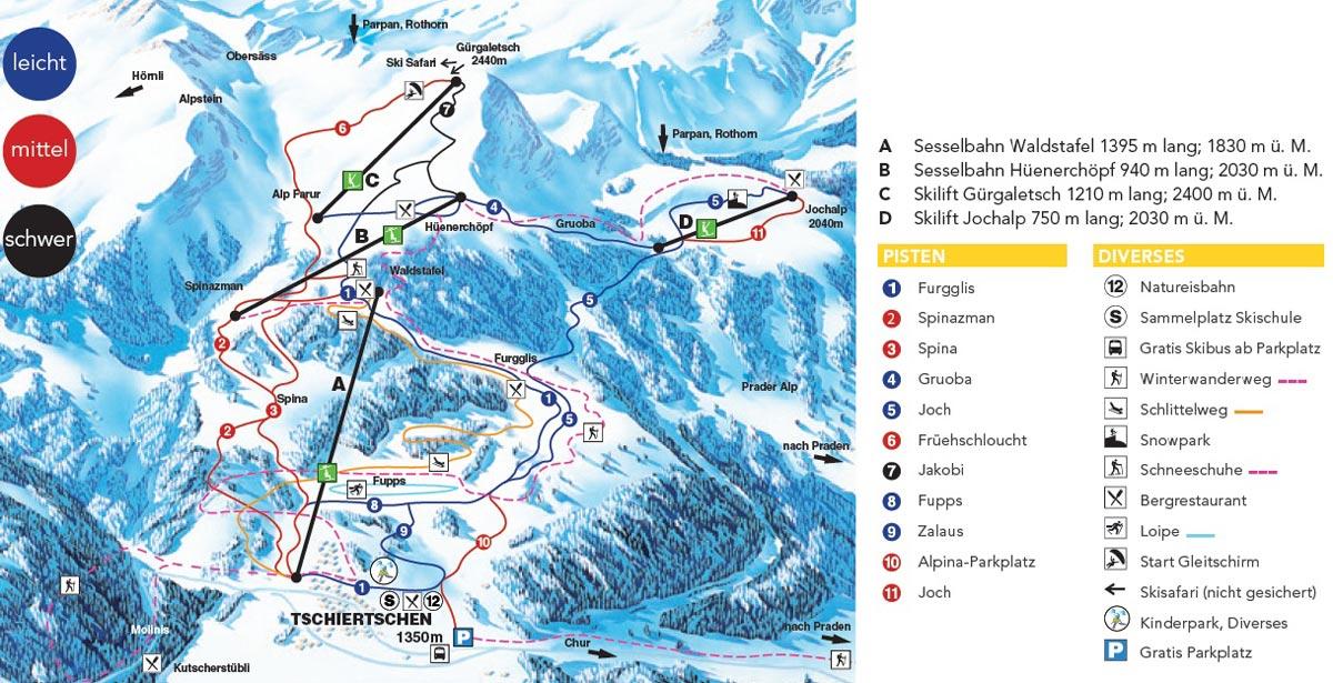 Схема трасс горнолыжного курорта Цчиерцчен