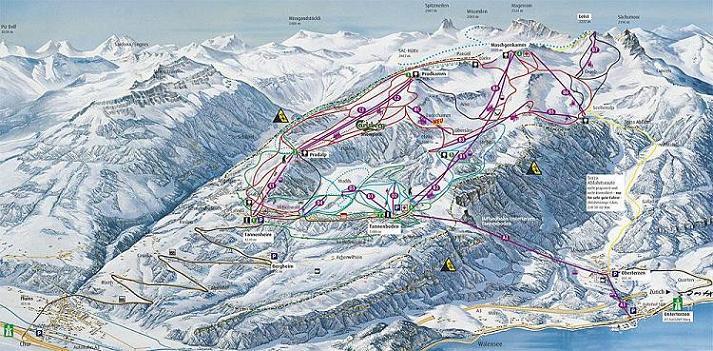 Схема трасс горнолыжного курорта Унтербах