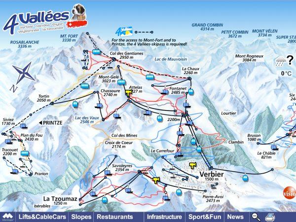 Схема трасс горнолыжного курорта Вербье