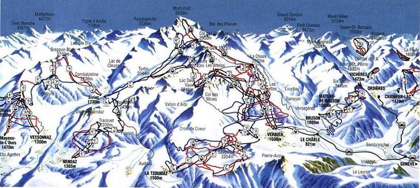 Схема трасс горнолыжного курорта Вейзона