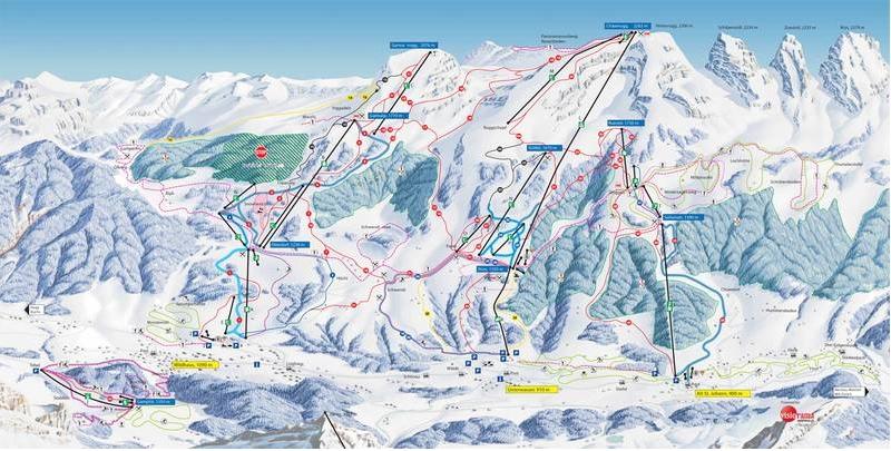 Схема трасс горнолыжного курорта Вильдхаус - Тоггенбург