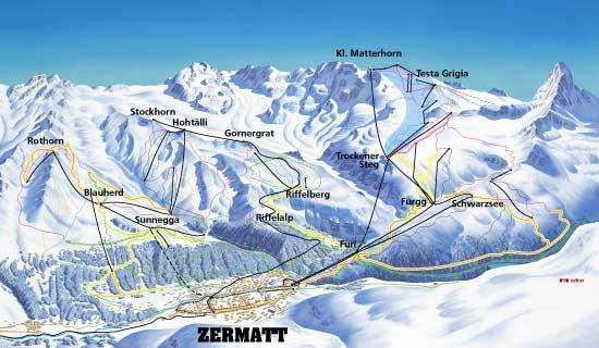 Схема трасс горнолыжного курорта Церматт